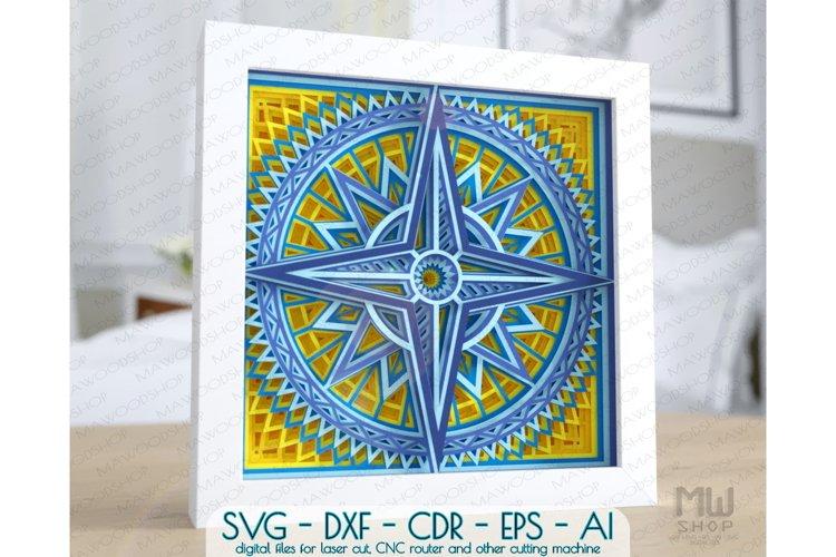 Layered Wind Rose SVG, 3D Rose of Wind SVG, 3D Compass SVG
