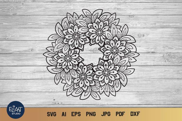 Flower Wreath SVG | Floral Mandala SVG