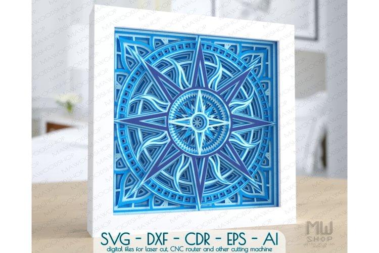 3D SVG Wind Rose, Layered Compass SVG, Windrose Compass SVG