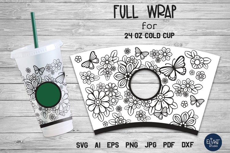 Cup Wrap SVG   Summer SVG   Floral Cup Wrap SVG