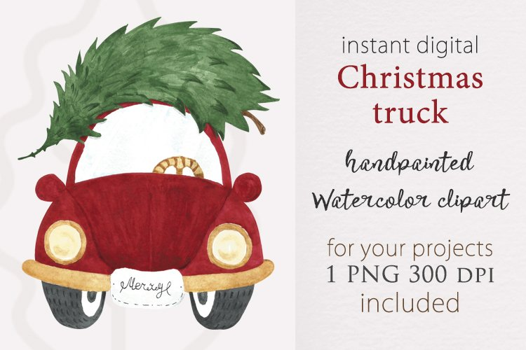 Christmas truck png, watercolor red truck, sublimation truck