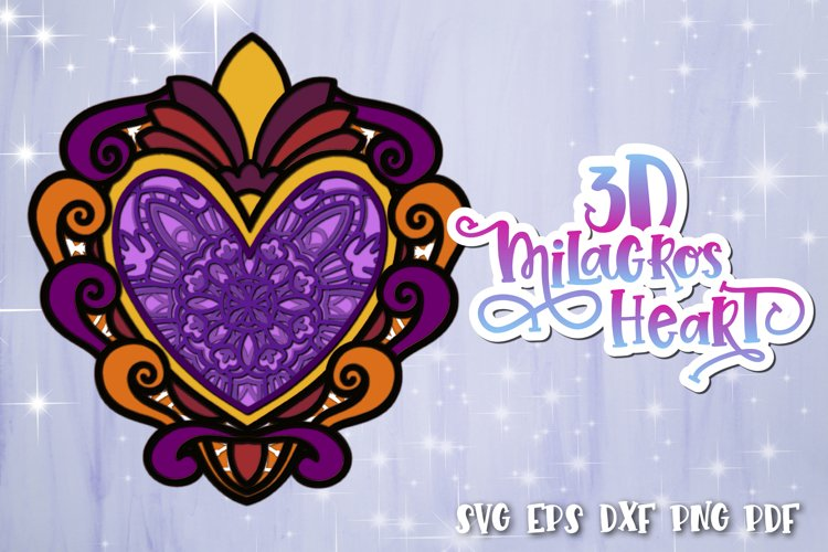 3D Heart svg Layered Milagros hearts 04 SVG