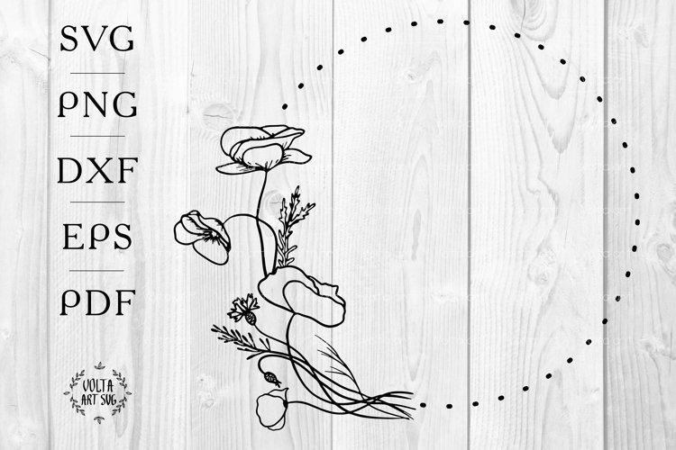 Poppy wreath svg, Poppy Floral wreath svg, Hand Drawn Flower