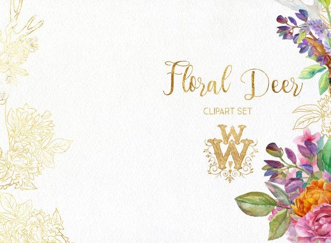 Watercolor floral deer printable clipart, golden graphics example 3