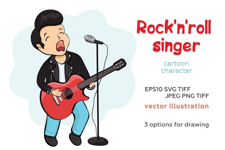 Rock'n'roll singer cartoon character, vector illustration example image 1