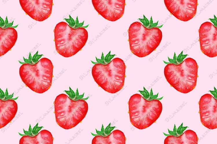 Watercolor hand drawn red strawberry berry seamless pattern