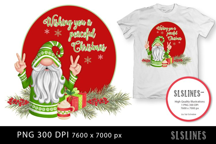 Peaceful Christmas Gnome in Green PNG sublimation example image 1