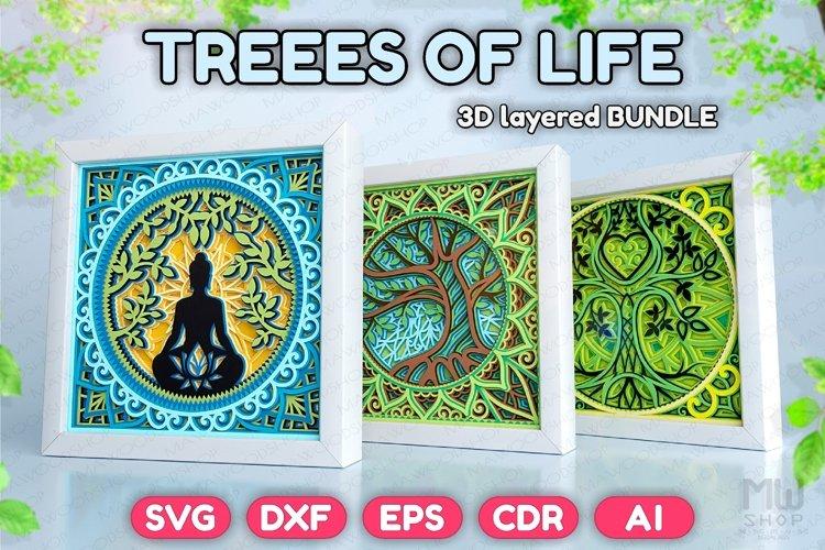 3D SVG Trees of Life Bundle, Layered Trees of life Bundle