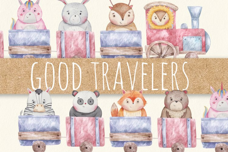Animals in train watercolor set! baby design, psd jpg png