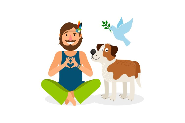 Hippie Peace Man with Dog example image 1