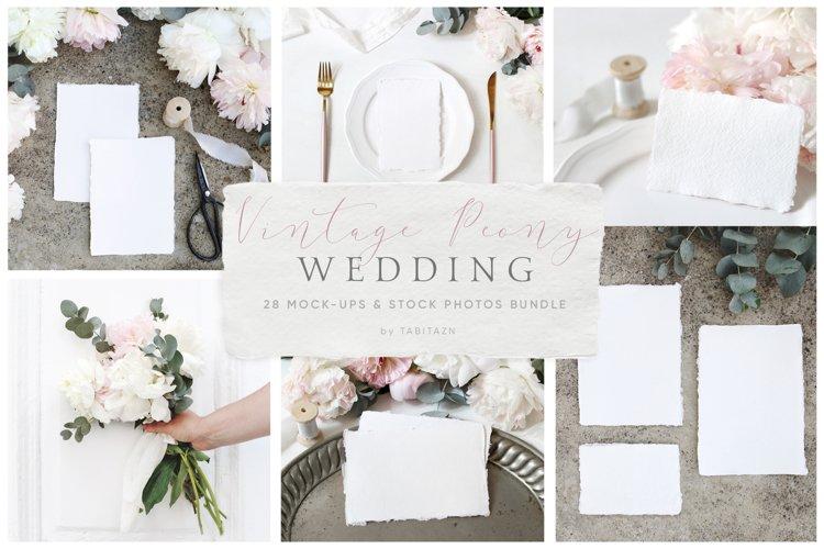 Vintage peony wedding mockups   stock photo bundle