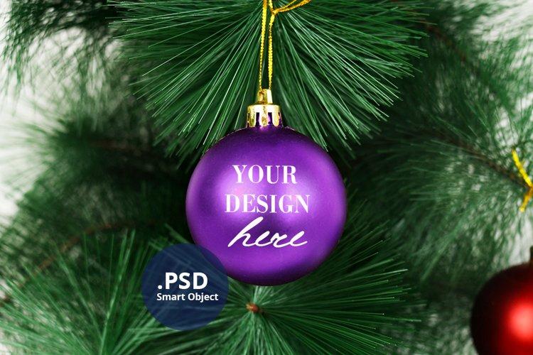 Purple Bauble Mockup, Round Christmas Ornament Mockup PSD example image 1