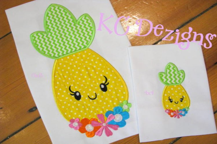 Pineapple With Flower Front Applique Embroidery Design