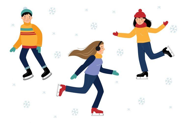 Vector set with six children ice skating. example image 1