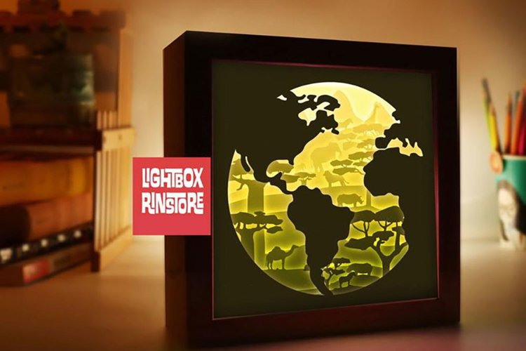 #119 Save Earth Temple- Paper cut light box template, die cu example image 1