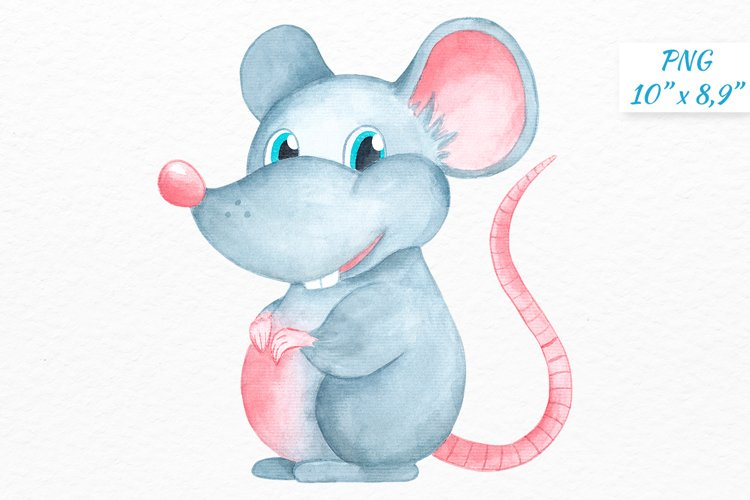 Grey Rat Watercolor clipart