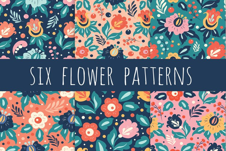 six seamless floral patterns in ethnic style example image 1