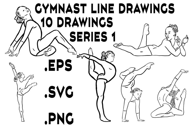 Gymnast Line Drawings Series 1 - Vector Line Graphics example image 1