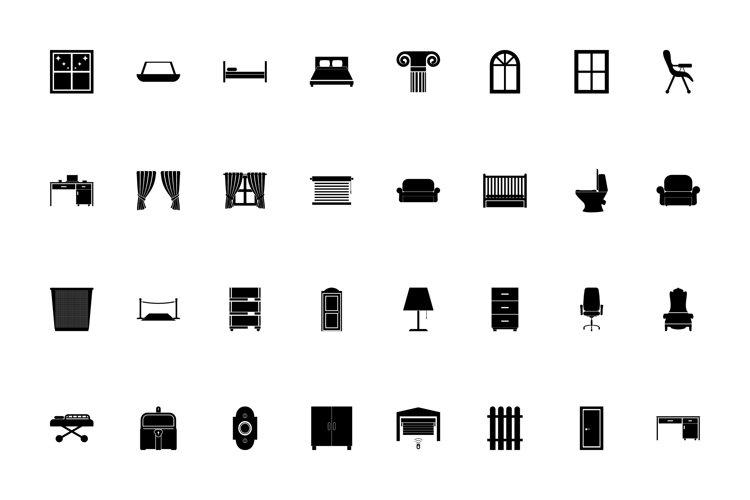Furniture black color set solid style
