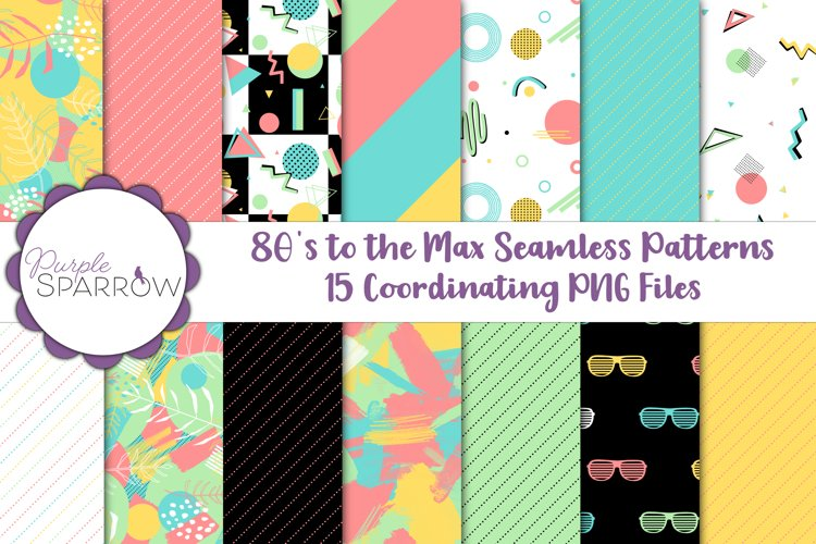 80s to the Max Seamless Patterns   1980s Retro PNG Files