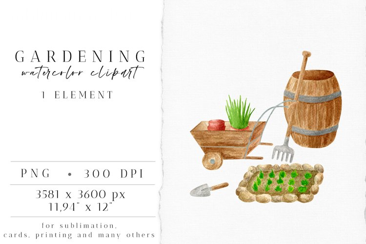 Gardening Clipart. Garden Tools PNG. Farmhouse Watercolor example image 1