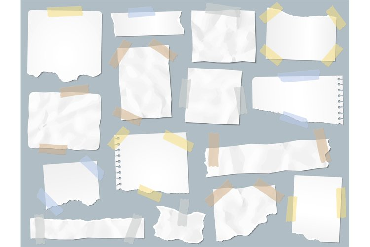 Scraps paper on adhesive tape. Vintage torn papers on sticky example image 1