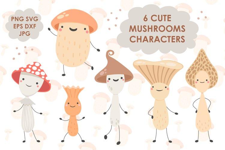 Cute Doodle Mushrooms Characters. SVG Illustrations