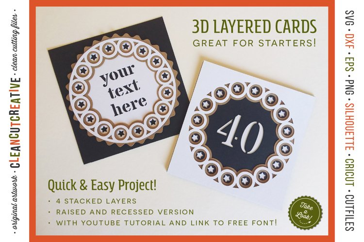 3D layered CARD svg | stacked paper greeting card craft idea example image 1
