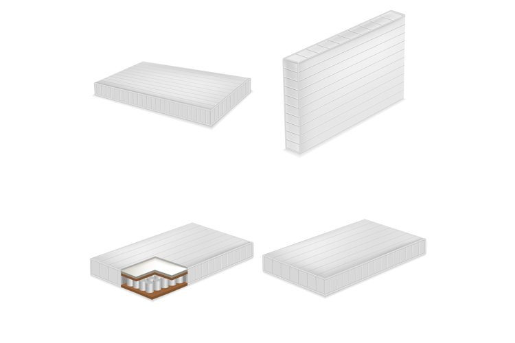 Mattress bedding bed mockup set, realistic style example image 1