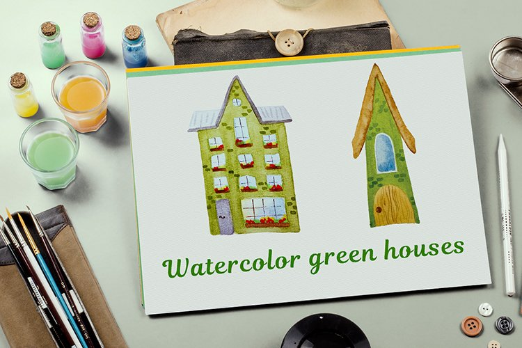 Bundle of green watercolor houses