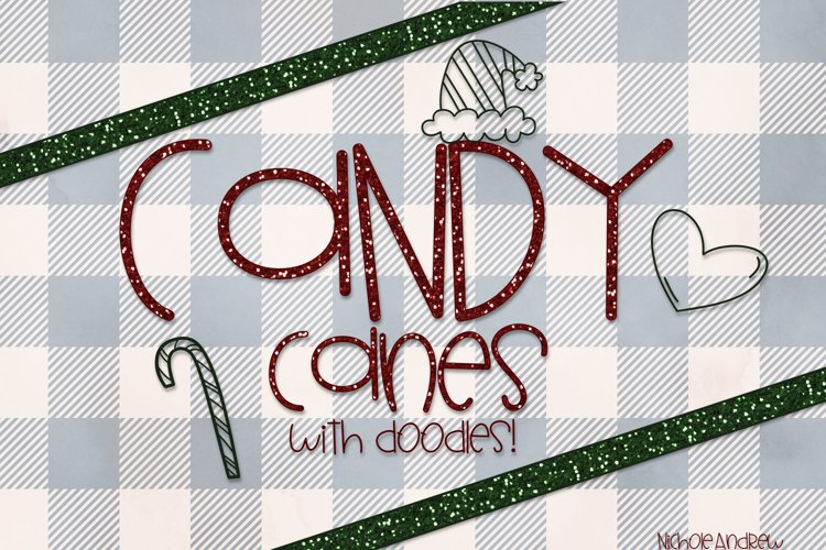 Candy Canes - A Font With Christmas Doodles!