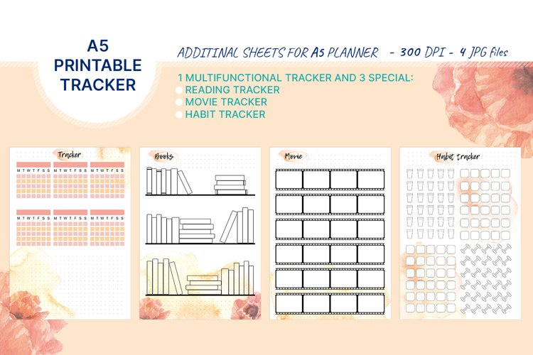 4 printable A5 trackers for habbits, books, movie, sport example image 1