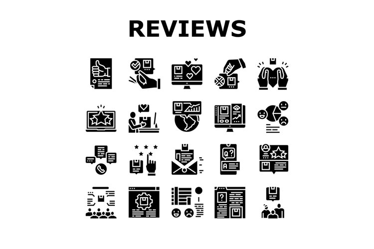 Reviews Of Customer Collection Icons Set Vector example image 1