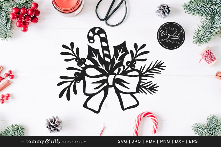 Christmas Floral Bow - SVG DXF PNG EPS JPG PDF Paper Cutting example