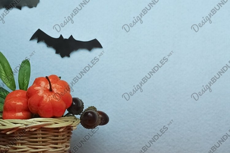 Halloween pumpkins with smile and paper bats example image 1