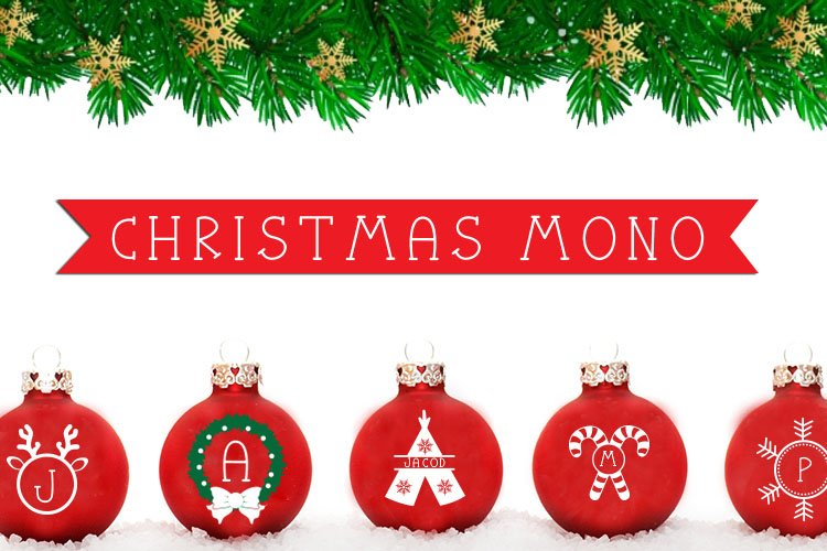 Christmas Mono, a font with frames of Christmas monograms