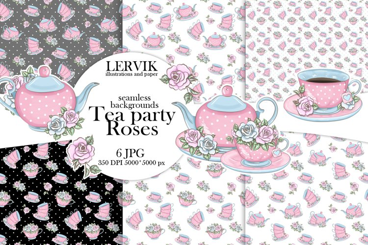 Digital paper tea party roses example image 1