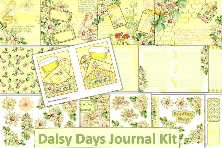 Printable Journal Kit. Daisy Days. Backgrounds, ephemera etc