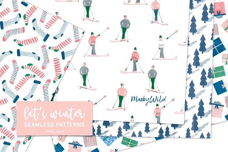 lets winter watercolour ski and socks seamless patterns