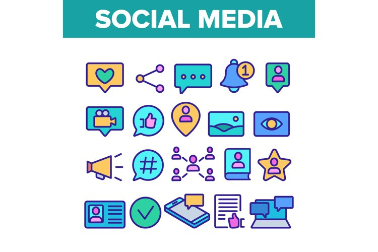 Color Social Media Elements Icons Set Vector example image 1
