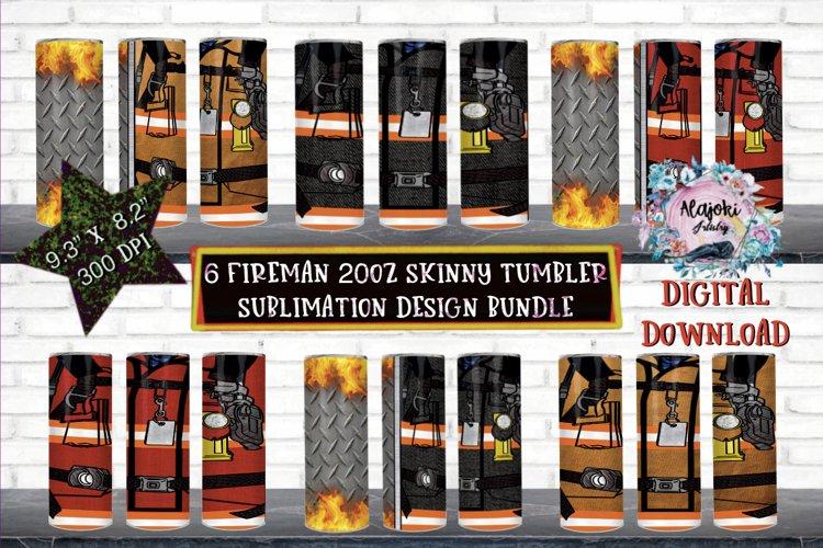 20oz  Fireman  Sublimation Tumbler Wrap   Design Bundle example image 1