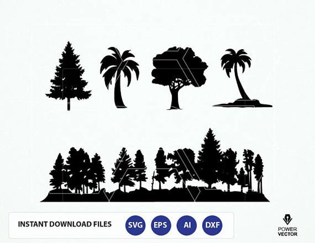 Forest SVG File. Trees Svg. Trees Silhouette - Fine Tree, Palm Tree Vector. Forest Silhouette Dxf, Eps