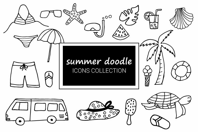 Summer doodle icons collection