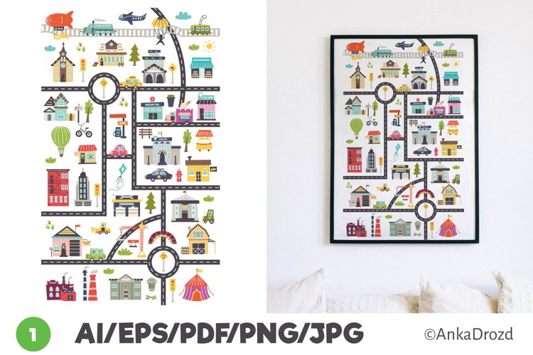 City Map Digital Vertical Poster Prints