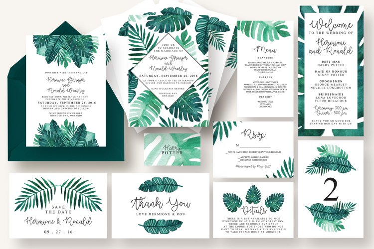 Tropical Leaves Invitation Suite example image 1