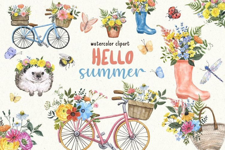 Summer Wildflowers Clipart Watercolor Floral Bicycle Bee example image 1
