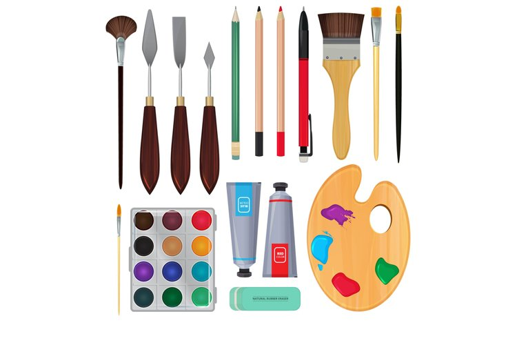 Different materials for artists. Equipment for painting. Vec example image 1
