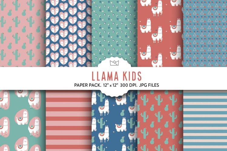 Llama Digital Paper Pack, Boho digital, scrapbook paper