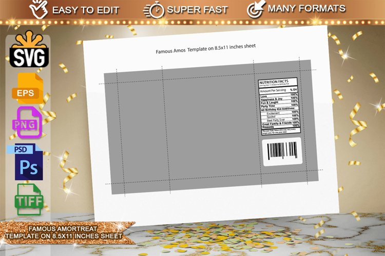 Famous Amos template, 40g Template