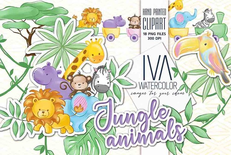 Baby Animals Clipart, Jungle animals Clipart, example image 1